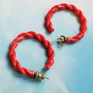 Vintage Red Twist Hoop Earrings Enamel